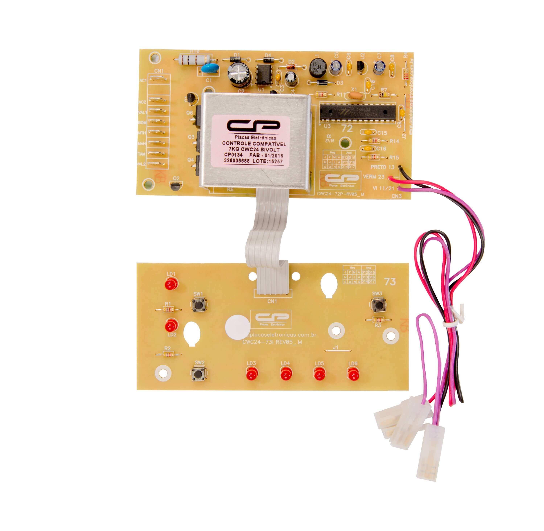 CP 0134 - Controle eletrônico compatível lavadora 7kg CWC24 bivolt