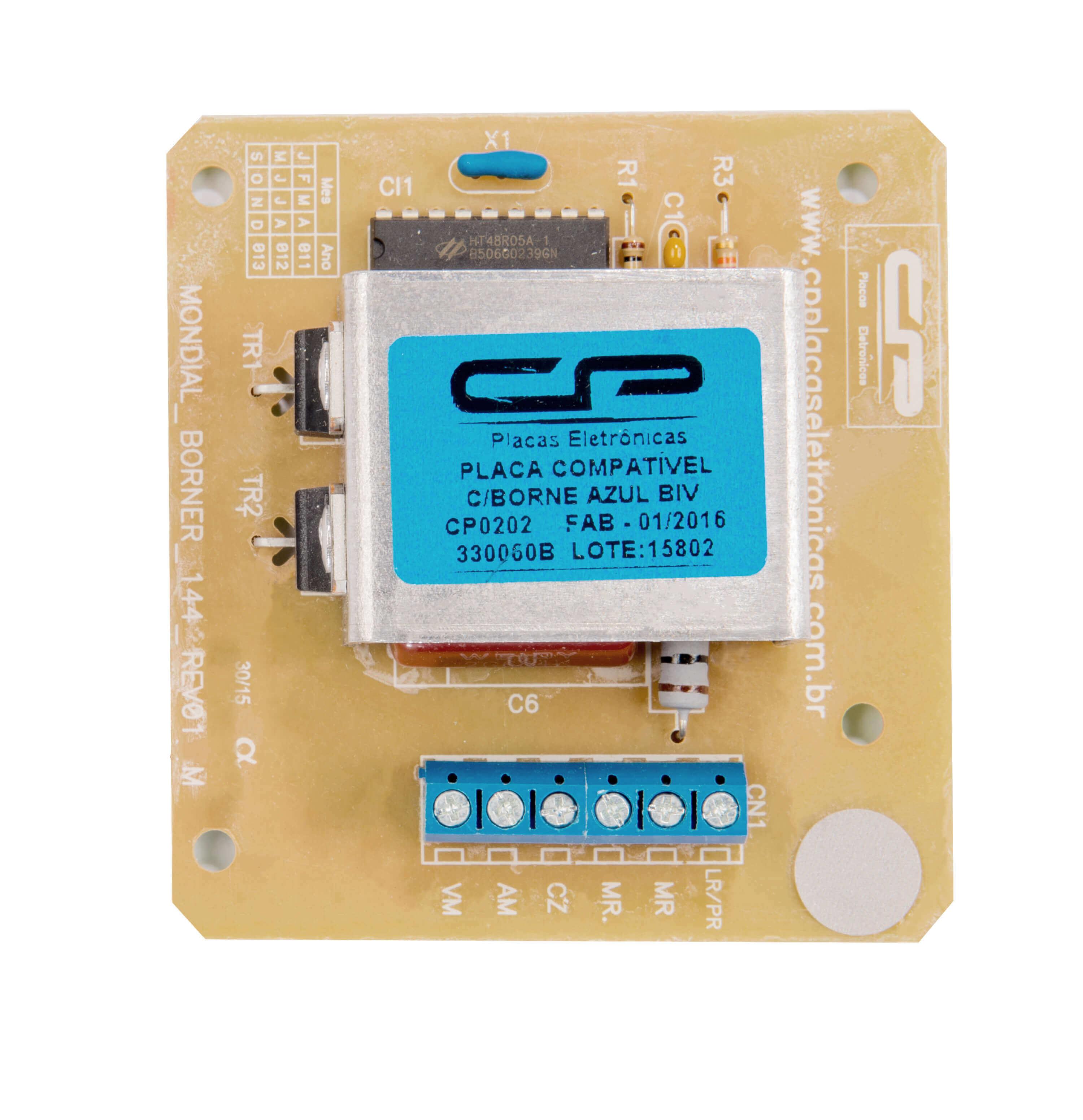 CP 0202 - Placa compatível lavadora 330060b /330061b com borner azul bivolt